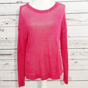 Eileen Fisher hot pink linen knit sweater